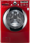 LG - SteamWasher 36 Cu Ft 9-Cycle High-Efficiency Steam Front-Loading Washer - Wild Cherry Red