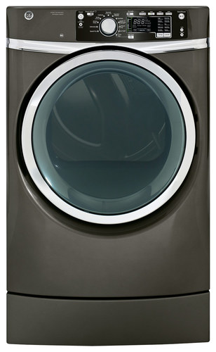 GE - RightHeight 8.3 Cu. Ft. 12-Cycle Electric Dryer with Steam - Metallic Carbon
