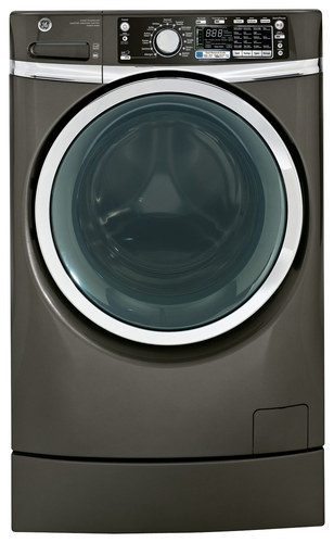 GE - RightHeight 4.8 Cu. Ft. 13-Cycle High-Efficiency Steam Front-Loading Washer - Metallic Carbon