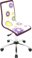 LumiSource - Printed Daisy Wood Office Chair - Purple