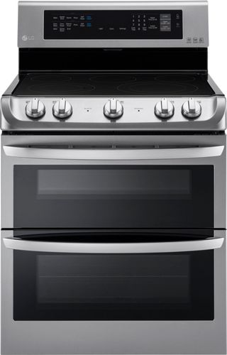 LG - 7.3 Cu. Ft. Self-Cleaning Freestanding Double Oven Electric Convection Range - Stainless Steel (Silver)