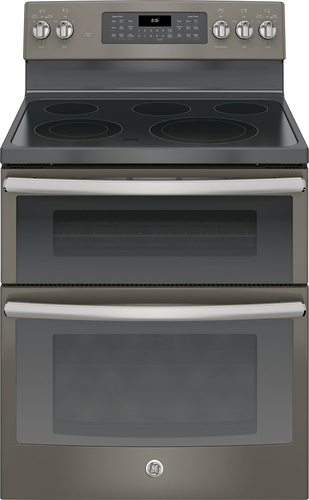 GE - 6.6 Cu. Ft. Self-Cleaning Freestanding Double Oven Electric Convection Range - Slate (Grey)