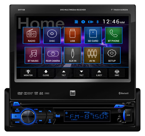 Dual - 7 - CD/DVD - Built-In Bluetooth - In-Dash Deck with Detachable Faceplate - Black