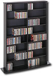 Double-Width Library-Style Media Shelf - Black - BMA-0640