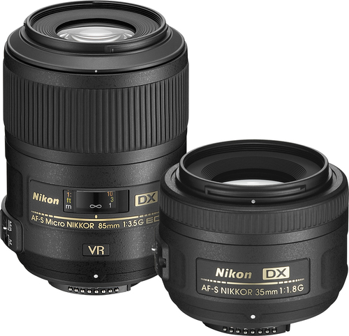 Nikon - 35mm f/1.8G Portrait and 85mm f/3.5G Macro Two Lens Kit - Black