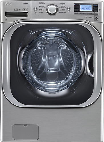 LG - TurboWash 5.2 Cu. Ft. 14-Cycle High-Efficiency Steam Front-Loading Washer - Graphite Steel