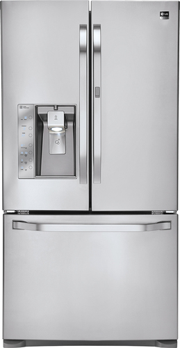 LG - Studio 24 Cu. Ft. French Door Counter-Depth Refrigerator - Stainless Steel (Silver)