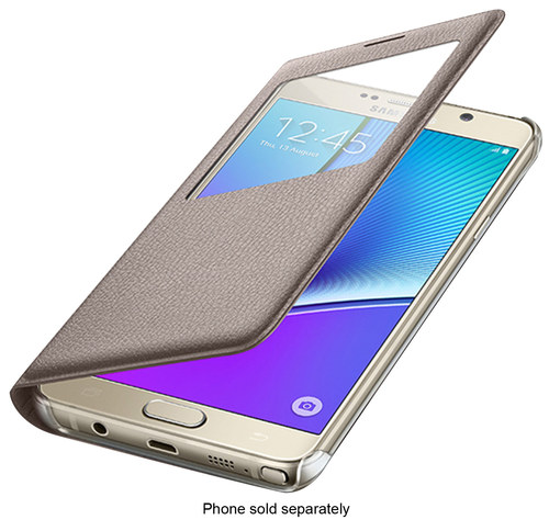 Samsung - S-View Flip-Cover Case for Samsung Galaxy Note 5 Cell Phones - Gold