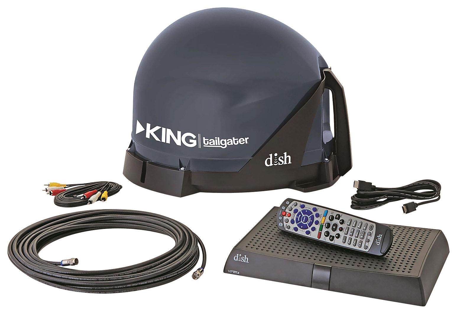 King - Tailgater Portable Satellite TV System - Black
