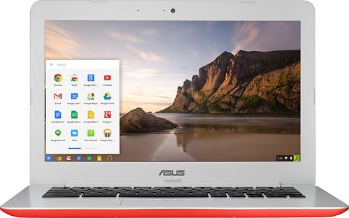 Asus - 13.3 Chromebook - Intel Celeron - 2GB Memory - 16GB eMMC Flash Memory - Red