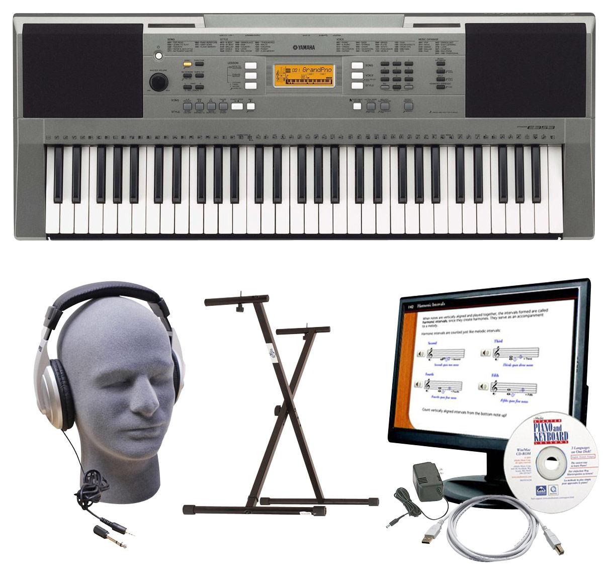 Yamaha - Portable Keyboard with 61 Full-Size Touch-Sensitive Keys - Gray