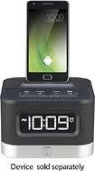 iHome - Space Saver FM Stereo Alarm Clock Radio for Android Mobile Phones - Black/Silver