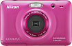 Nikon - Coolpix S30 101-Megapixel Waterproof Digital Camera - Pink