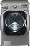 LG - 51 Cu Ft 14-Cycle Mega Capacity High-Efficiency Steam Front-Loading Washer - Graphite Steel