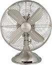 "Hunter - 12"" Retro Oscillating Table Fan - Brushed Nickel"
