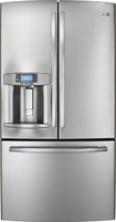 GE - Profile 286 Cu Ft French Door Refrigerator with Thru-the-Door Ice and Water - Stainless-steel