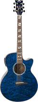 Dean - Performer 6-String Mini-Jumbo Cutaway Acoustic/Electric Guitar - Trans Blue