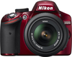 Nikon - D3200 242-Megapixel Digital SLR Camera with 18-55mm Zoom Lens - Red