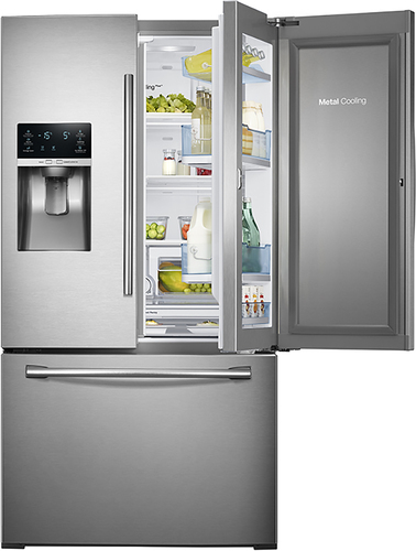 Samsung - Showcase 27.8 Cu. Ft. French Door Refrigerator with Thru-the-Door Ice and Water - Stainless Steel (Silver)