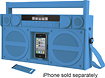 iHome - iP4 Boombox with FM Radio and Apple iPhone and iPod Dock - Blue