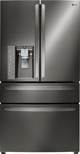 LG - 22.7 Cu. Ft. Counter-Depth 4-Door French Door Refrigerator with Thru-the-Door Ice and Water - Black Stainless