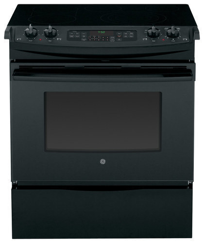 GE - 30 Self-Cleaning Slide-In Electric Convection Range - Black