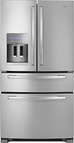 Whirlpool - 250 Cu Ft 4-Door French Door Refrigerator with Thru-the-Door Ice and Water - Monochromatic Stainless-Steel