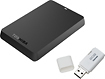 Toshiba - Canvio Basics 750GB External USB 30 Portable Hard Drive with 8GB Flash Drive - Black