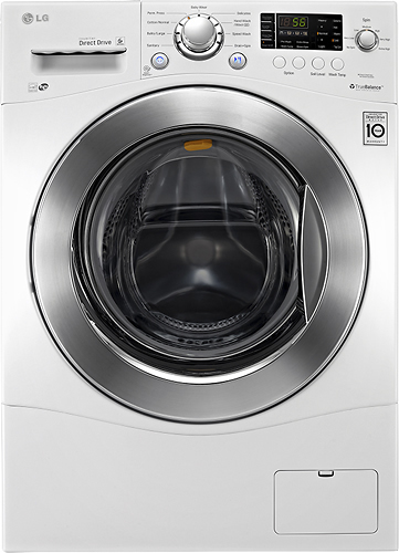 LG - 2.3 Cu. Ft. 9-Cycle High-Efficiency Compact Front-Loading Washer - White
