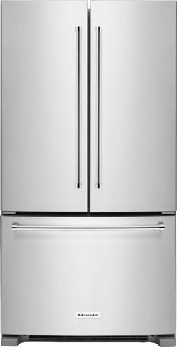 KitchenAid - 20.0 Cu. Ft. French Door Counter-Depth Refrigerator - Stainless Steel (Silver)
