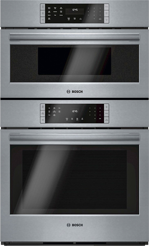 Bosch - 800 Series 30 Single Electric Convection Wall Oven with Built-In Microwave - Stainless Steel (Silver)