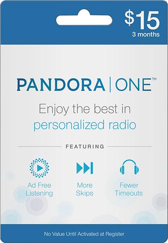 Pandora - 3-Month Pandora One Subscription Card