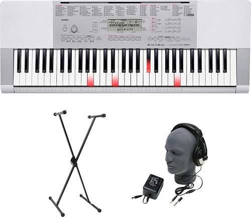 Casio - Portable Keyboard with 61 Touch-Sensitive Lighted Piano-Style Keys - Silver