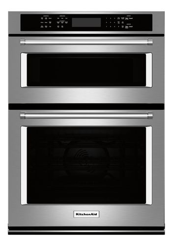 KitchenAid - 27 Single Electric Convection Wall Oven with Built-In Microwave - Stainless Steel (Silver)