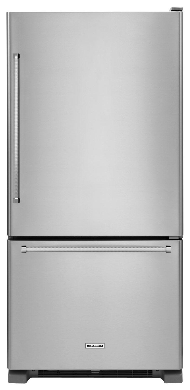 KitchenAid - 18.7 Cu. Ft. Bottom-Freezer Refrigerator - Stainless Steel (Silver)