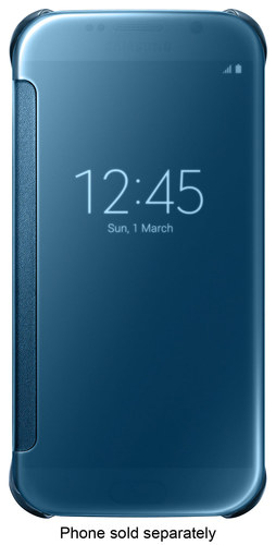 Samsung - S-View Flip Cover for Samsung Galaxy S6 Cell Phones - Clear Blue