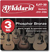 D'Addario - EJ17 Phosphor Bronze Medium-Gauge Acoustic Guitar Strings (3-Pack)