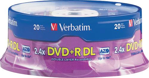 BestBuy - 20-Pack Verbatim 6x DVD+R DL Double-Layer Disc - $22.99