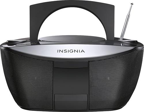 Insignia™ - CD Boombox with FM Radio - Black/Silver