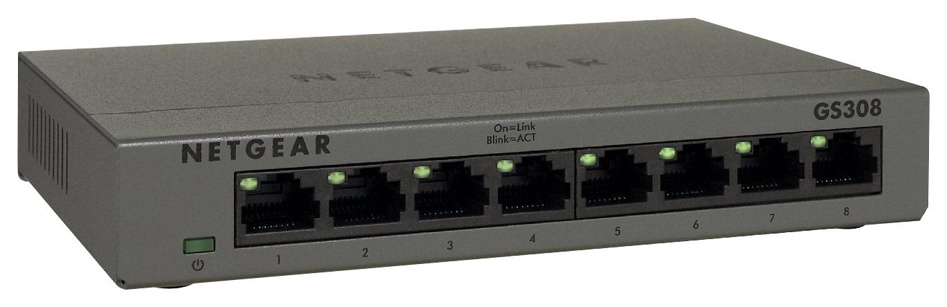NETGEAR - 300 Series Unmanaged Soho 8-Port 10/100/1000 Gigabit Switch - Silver