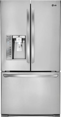 LG - 24.0 Cu. Ft. Counter-Depth French Door Refrigerator with Thru-the-Door Ice and Water - Stainless Steel (Silver)