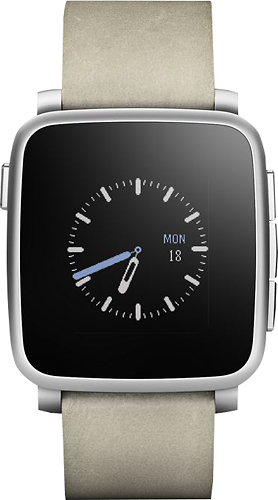 Pebble - Time Steel Smartwatch 38mm Stainless Steel - Stainless Steel