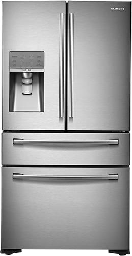 Samsung - 22.6 Cu. Ft. Counter-Depth 4-Door French Door Refrigerator with Thru-the-Door Ice and Water - Stainless Steel (Silver)