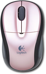 Logitech - V220 Cordless Optical Notebook Mouse - Pink/Black - 910-000153