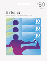 3-pack iTunes $10 Gift Cards $25