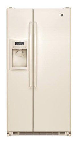 GE - 21.9 Cu. Ft. Side-by-Side Refrigerator with Thru-the-Door Ice and Water - Bisque