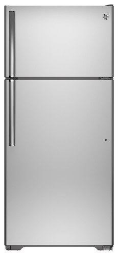 GE - 15.5 Cu. Ft. Top-Freezer Refrigerator - Stainless Steel (Silver)