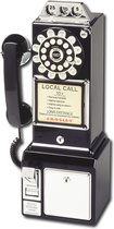 Crosley - Corded 1950s Classic Pay Phone - Black