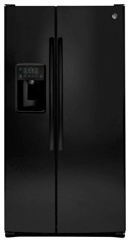 GE - 25.4 Cu. Ft. Side-by-Side Refrigerator - High-Gloss Black