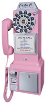 Crosley - Corded 1950s Pay Phone - Pink